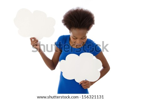 African American woman standing with two blank speech balloon, isolated over white background. - stock photo