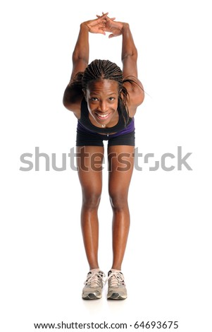 African American woman stretching isolated over white background