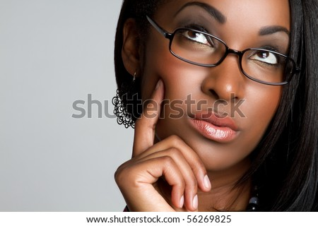 African American woman thinking - stock photo