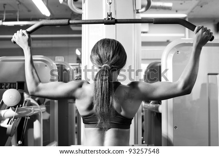 African American woman training in gym - stock photo