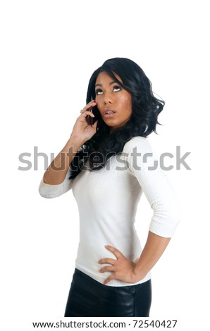 African American Woman waiting on the phone - stock photo