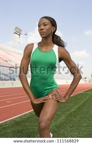 African American woman warming up - stock photo