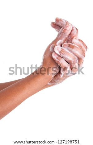 African American woman washing hands, isolated on white background