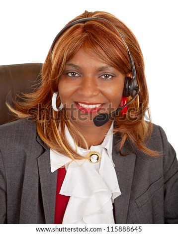 African American Woman Wearing Headset - stock photo