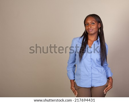 African American woman with American Indian heritage acting as a spokesperson with room for copy. Part of a series. - stock photo