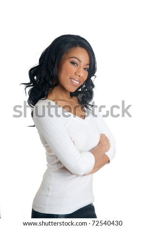 African American Woman with arms crossed - stock photo