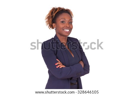 African American woman with folded arms, isolated on white background - Black people - stock photo