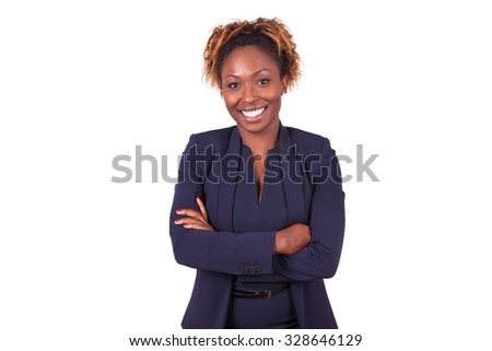 African American woman with folded arms, isolated on white background - Black people