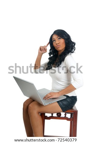 African American Woman with laptop pointing finger on head - stock photo