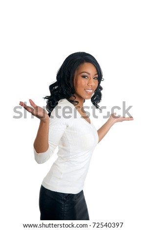 African American Woman with open arms clueless gesture - stock photo