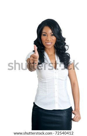 African American Woman with thumbs up gesture - stock photo