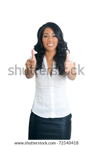African American Woman with two thumbs up gesture - stock photo