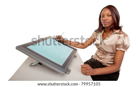 African American Woman Working on a Digital Tablet - stock photo