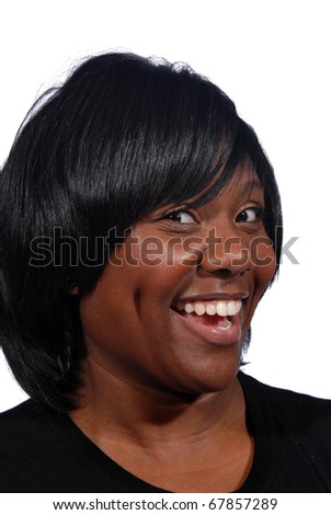African American women with a big smile - stock photo