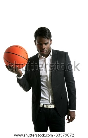African american young businessman basketball in white studio - stock photo
