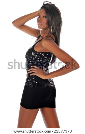 African american young fashion woman against a white background