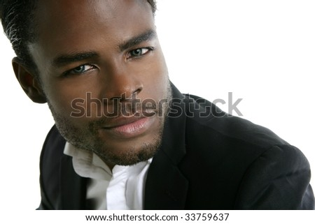 African american young model portrait over white background - stock photo