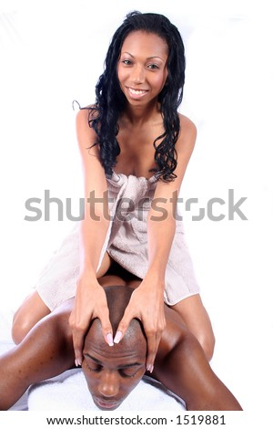 African Amrican Couple - Massage - Relaxing - stock photo