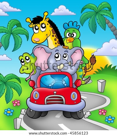 African animals in car on road - color illustration. - stock photo