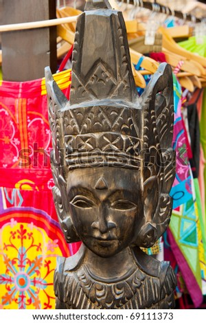African art with colorful clothes at the Spanish market