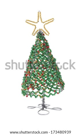 African beaded and wire Christmas tree with star - stock photo