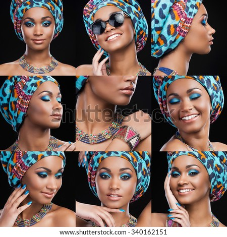 African beauty. Collage of beautiful young African woman in ethnic style expressing different emotions while standing against black background - stock photo