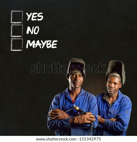 African black men industrial workers with chalk checklist on blackboard background - stock photo