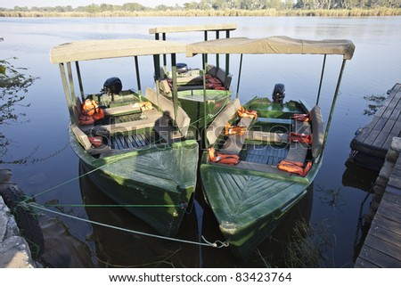 African boat on south luangwa river in Zambia - stock photo