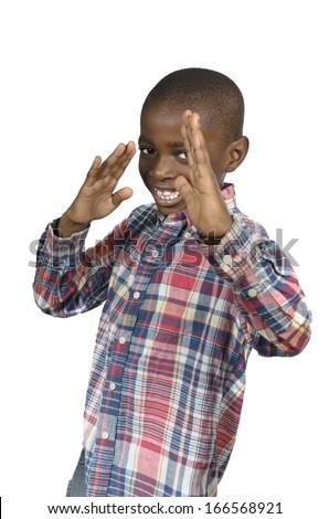 African boy doing martial arts, Studio Shot - stock photo