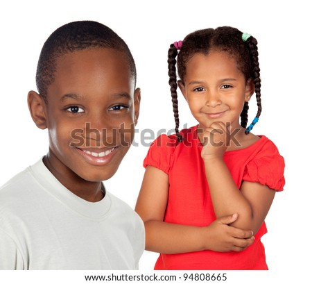 African brothers children isolated on a over white background - stock photo
