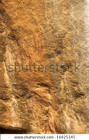 African bushman paintings from the Bronze Age period. Shot in Gifberg Mountains, near Wanrhynsdorp and Cederberg, Western Cape, South Africa. - stock photo