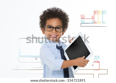 african business boy smiling and looking at the camera - stock photo