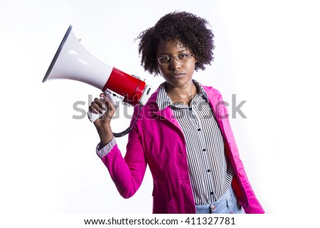 african business girl with megaphone and glasess