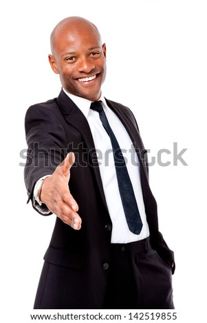 African business man offering handshake on an isolated background - stock photo
