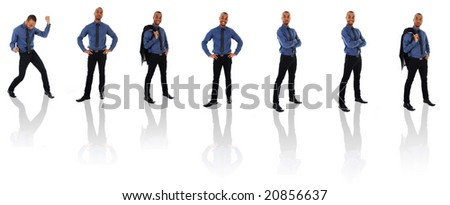 African Business man on a white background poses