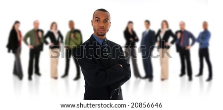 African Business man on a white background with his team - stock photo