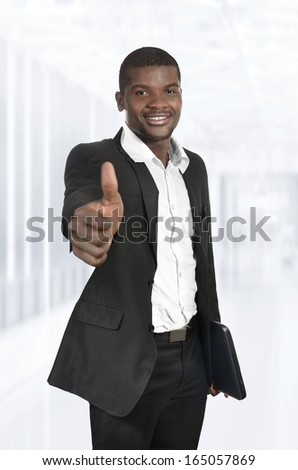 African Business Man / Student Thumb Up, Studio Shot