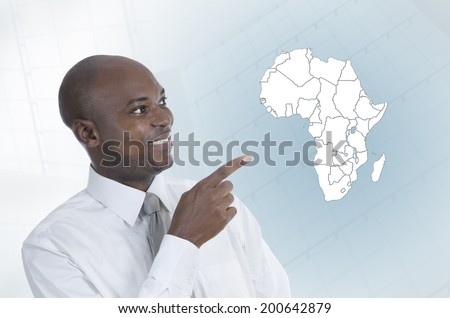 African business man working in virtual environment, Studio Shot - stock photo