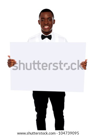 African business representative holding blank billboard over white background - stock photo