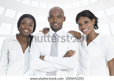 African business team / students smiling, Studio Shot - stock photo