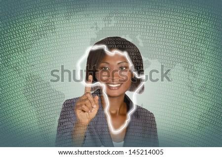 African business woman digital IT background,  studio shot - stock photo