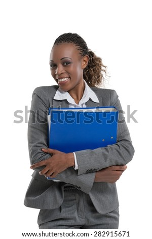African business woman holding documents isolated on white background