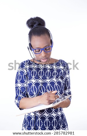 African Business Woman talking on headset