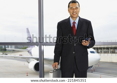 African businessman at airport - stock photo