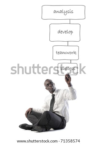 African businessman drawing a business plan - stock photo