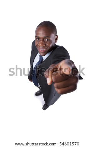 African businessman pointing up, to you (isolated on white) - stock photo