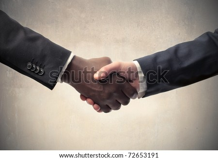 African businessman's hand shaking white businessman's hand - stock photo