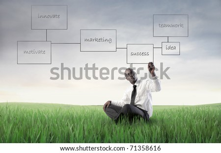 African businessman sitting on a green meadow and drawing business plans - stock photo