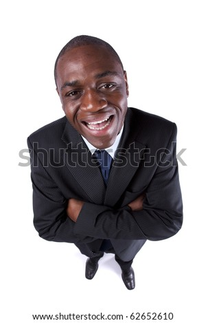 African businessman smiling to you (above view and isolated on white) - stock photo
