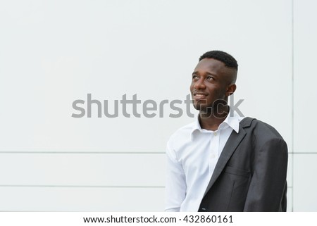 African businessman thinking